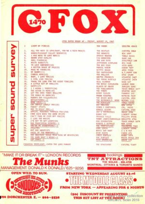 CFOX Chart, 1967, from the collection of Alex Taylor.