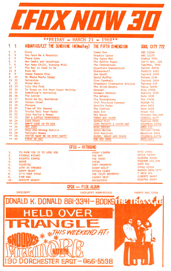 A flyer that was typically free to pick up at record stores in the 1960s. From the collection of Alex Taylor.