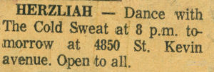 A listing of an appearance of Erik Slutsky's band, Cold Sweat, circa 1969.