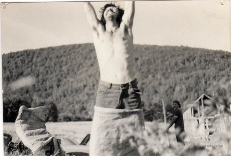 Endre Farkas wins the potato sack race during the mock olympics held between communes in the Eastern Townships, early 1970s.