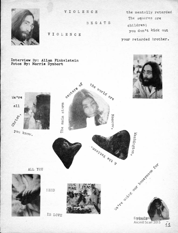 From the zine Ostrich, a contribution in part by John Lennon while he was in Montreal for his sit-in.