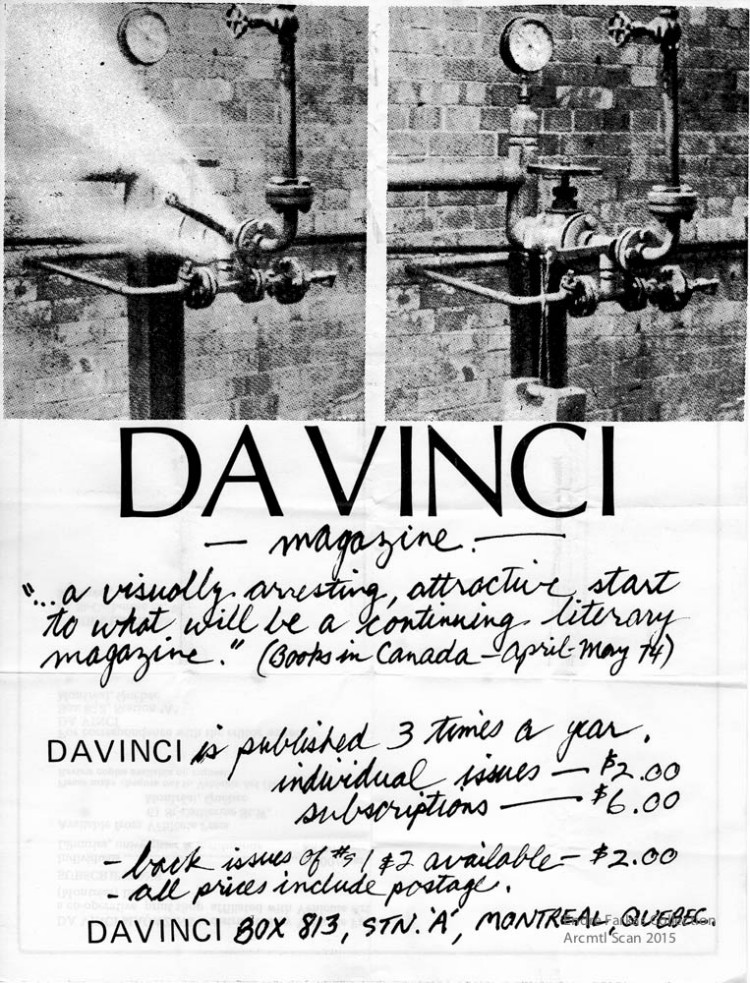 Call for submissions (recto-version mailout sheet), Davinci, 1974.