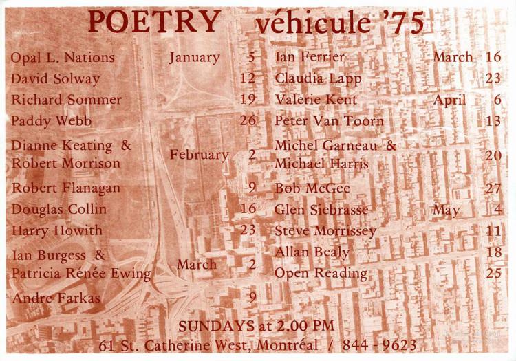 Véhicule Gallery, poetry schedule, Winter-Spring 1975