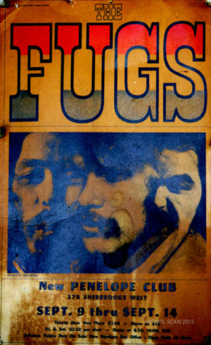 An original copy of the cardstock Fugs poster that hung at the New Penelope before their 1967 show. Allan Youster put it up on his wall just after the show, where it remained until ARCMTL briefly removed it for digitization in 2015.