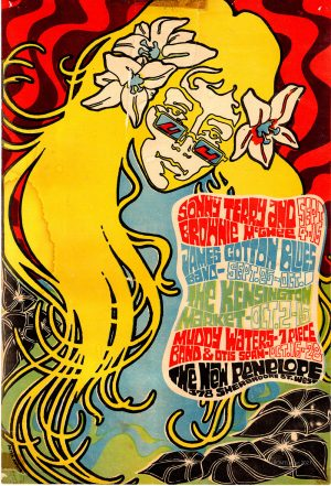 Colourful poster advertising concerts