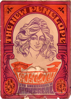 Orange and purple poster advertising concerts